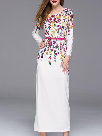 Vestito perline a girocollo bianco