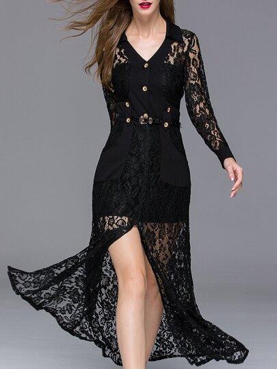 Black V Neck Long Sleeve Thigh Split Drawstring Lace Dress