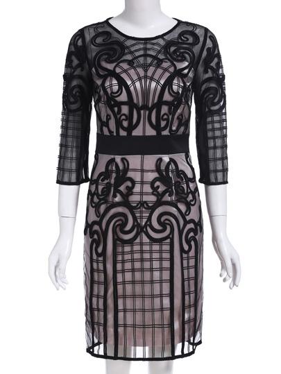 robe col rond contrasté -Noir