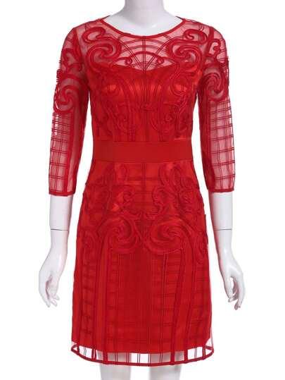 robe contrastée col rond -rouge
