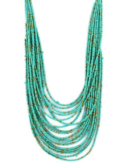 Green Multilayers Long Beads Necklace