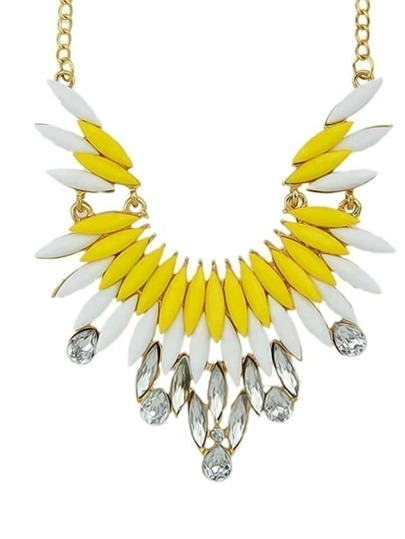 New Fashion Yellow Gemstone Beautiful Women Shourouk Necklace