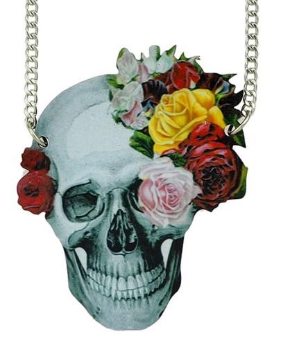 collier design tête de mort -argenté