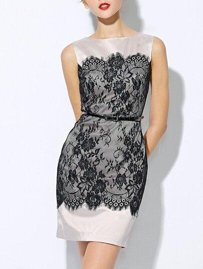 Apricot Round Neck Sleeveless Drawstring Contrast Lace Dress