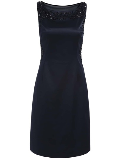 robe dos nu sans manche col rond -bleu marine