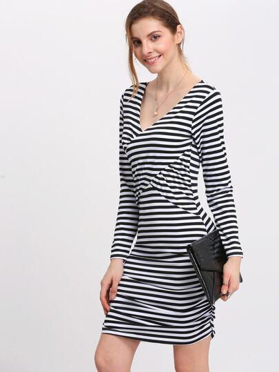 Black And White Deep V Neck Striped Bodycon Dress