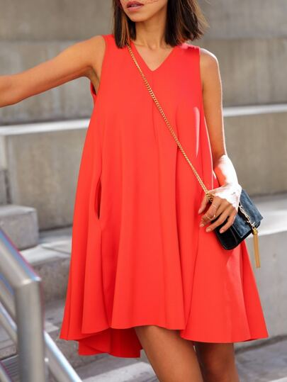 Orange V Neck Trapeze Dress