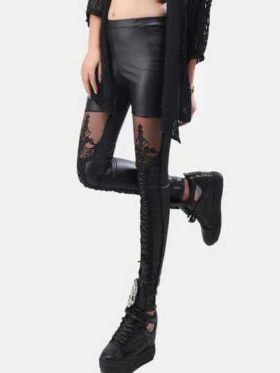 Leggings mit Spitzeneinsatz-schwarz