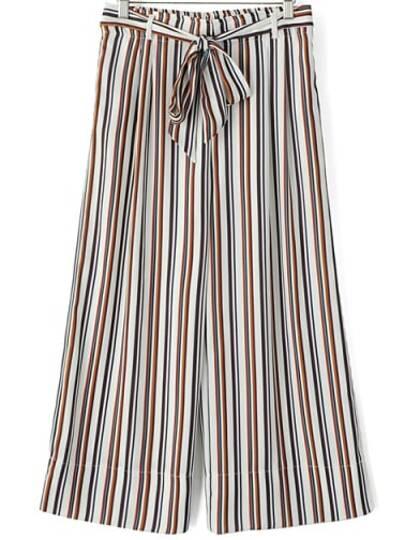 Pantalón rayas verticales ancho -multicolor
