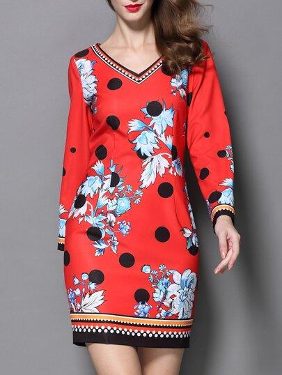Red V Neck Long Sleeve Floral Print Dress