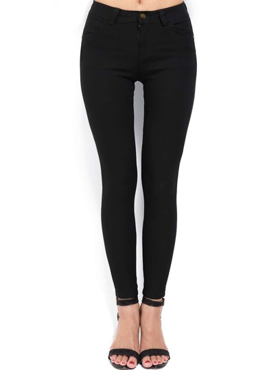 Black Slim Embroidered Pockets Pant