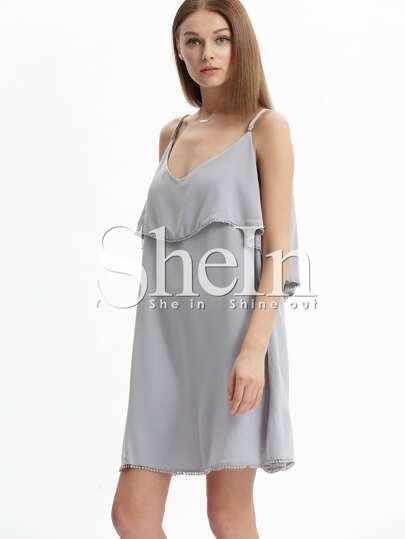 Grey Off The Shoulder Ball Embellished Plus Size Dress