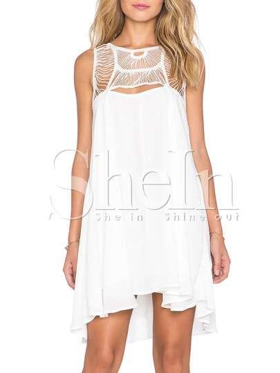White Sleeveless Hollow Pleated Dress