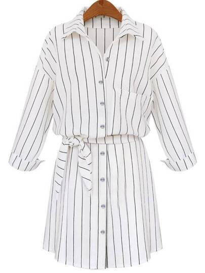White Lapel Vertical Striped Self-Tie Blouse