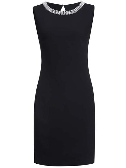 robe moulante sans manche col rond -Noir