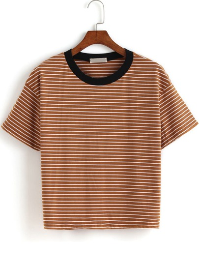 Contrast Collar Striped T-shirt