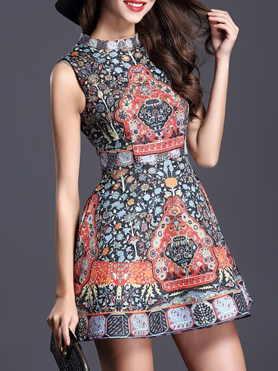 Multicolor Stand Collar Sleeveless Beading Print Flare Dress