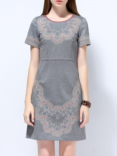 Grey Round Neck Short Sleeve Embroidered Dress