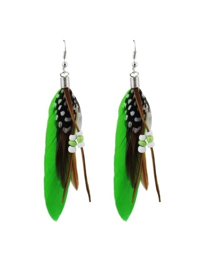 Latest Design Green Long Feather Earrings For Women