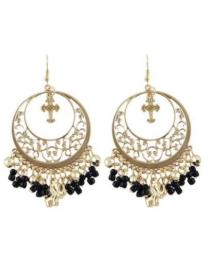 Black Beads Tassel Earrings