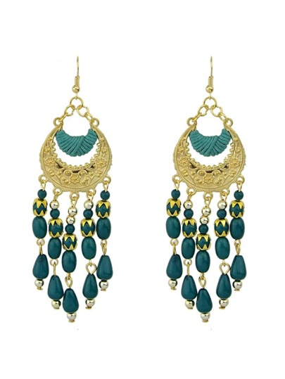 Green Bohemian Style Long Chandelier Beads Earrings