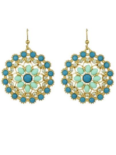 Bohemian Style Multicolors Gemstone Big Round Drop Earrings