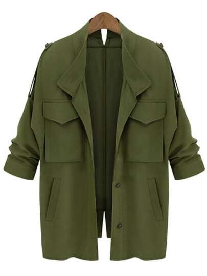 Army Green Epaulet Pockets Loose Coat