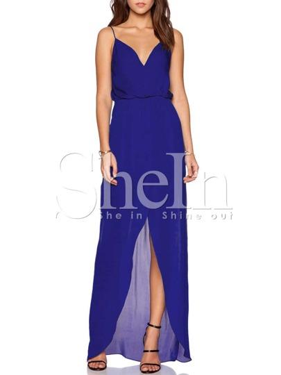 Blue Spaghetti Strap Backless Split Maxi Dress