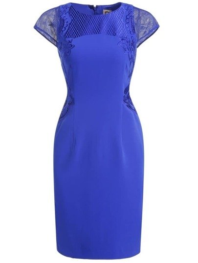 Blue Round Neck Cap Sleeve Embroidered Bodycon Dress