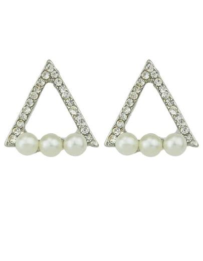 Silver Plated Imitation Pearl Rhinestone Women Triangle Earrings