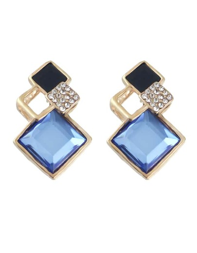 Geometric Shape Women Blue Stone Earrings