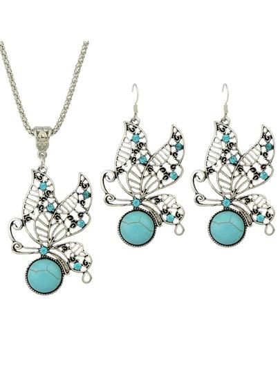 Vintage Style Imitation Turquoise Rhinestone Butterfly Shape Fashion Jewelry Set