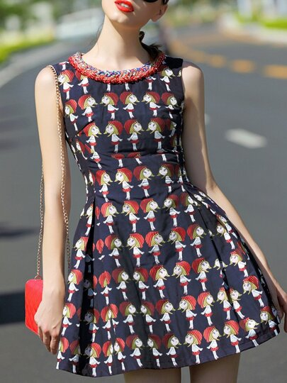 Navy Round Neck Sleeveless Print Dress