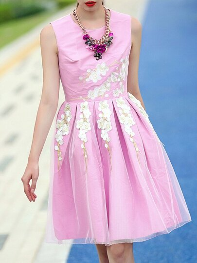 Pink Round Neck Sleeveless Embroidered Flare Dress