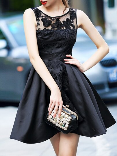 Black Round Neck Sleeveless Contrast Gauze Embroidered Dress
