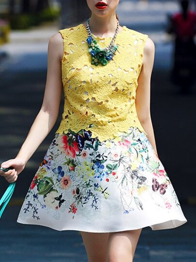 Yellow Round Neck Sleeveless Crochet Print Flare Dress