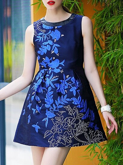 Vestido cuello redondo jacquard combinado PU -azul