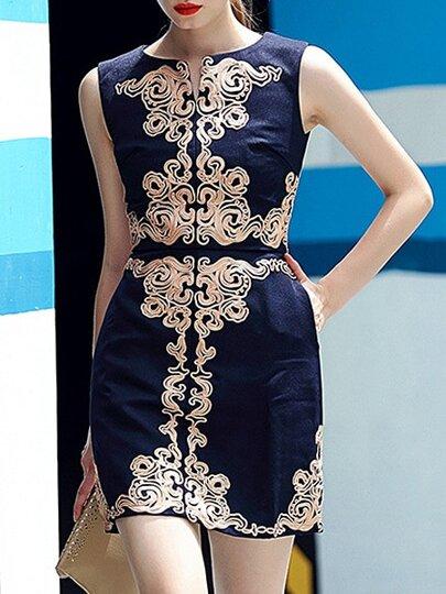 Navy Round Neck Sleeveless Embroidered Dress