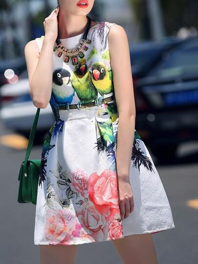 White Round Neck Sleeveless Bird Print Dress