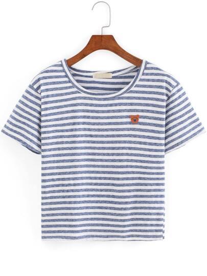 Blue White Round Neck Striped Bear T-Shirt