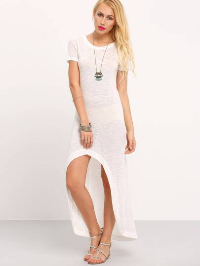 White Short Sleeve Asymetric High Low Dress