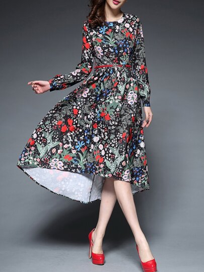 Multicolor Round Neck Long Sleeve Drawstring High Low Print Dress