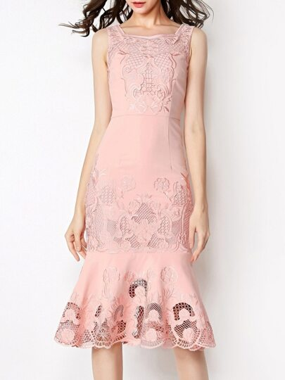 Pink Boat Neck Sleeveless Embroidered Hollow Fishtail Dress