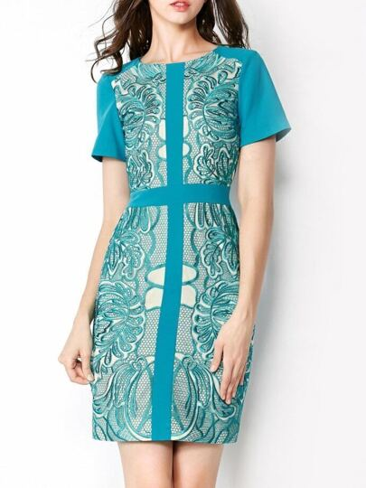 Blue Round Neck Short Sleeve Embroidered Bodycon Dress