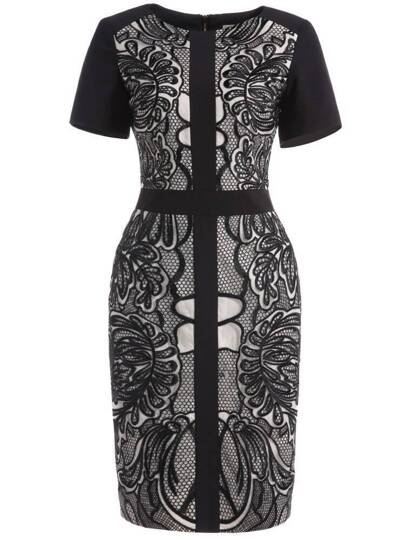 Black Round Neck Short Sleeve Embroidered Bodycon Dress