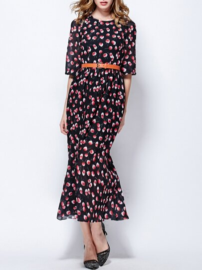 Black Round Neck Half Sleeve Drawstring Print Dress