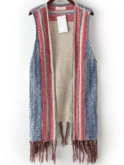 Light Blue Red Hollow Tassel Knit Sweater Vest