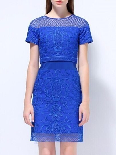 Blue Round Neck Short Sleeve Embroidered Dress