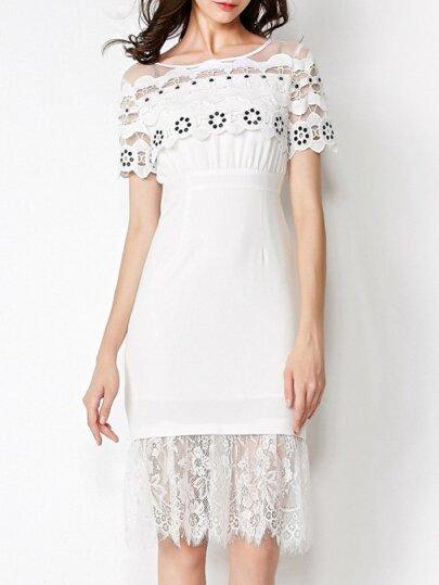 Kleid Rundhals Kurzarm-weiß