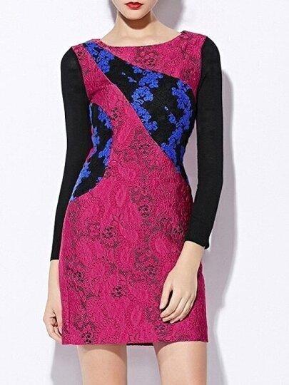 Purple Round Neck Contrast Knit Long Sleeve Dress